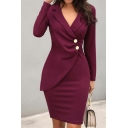 Women's Elegant Plain Long Sleeve Notch Lapel Button Detail Zipper Back Short Bodycon Wrap Work Blazer Dress