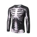 Mens Cool Perspective Skeleton 3D Printed Long Sleeve Crew Neck Black Slim T-Shirt