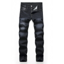 Mens Leisure Solid Color Black Zip Front Straight Fit Stretchy Denim Pants Loose Jeans