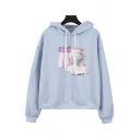 Vaporwave Sculpture Pattern Long Sleeve Thick Light Blue Pullover Hoodie without Pocket