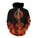Unisex Fashion Fire Phoenix Dragon 3D Printed Long Sleeve Loose Drawstring Hoodie