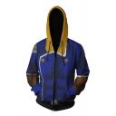 Mens Leisure Colorblocked Drawstring Hood Long Sleeves Zip Up Dark Blue Cosplay Hoodie