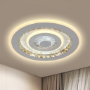 White Tiered Round Flush Lamp Kit Modern Style Crystal LED Ceiling Light Fixture