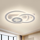 Contemporary LED Flush Light Acrylic White Dual Ring Ceiling Lighting in Warm/White Light/Remote Control Stepless Dimming