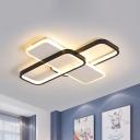 Modern LED Ceiling Mount Light Black Traverse Metal Frame Flush Lamp in Warm/White Light/Remote Control Stepless Dimming