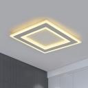 Minimalist LED Ceiling Lamp Metallic White Square Frame Flush Lighting in Warm/White Light