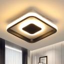 Minimal Round/Square Frame Mini Ceiling Lamp Metallic LED Foyer Black Flush Lighting in Warm/White/3 Color Light