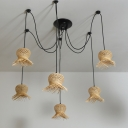 Bamboo Sway Pendant Light 6 Lights Handwoven Asian Hanging Ceiling Light with Adjustable Cord