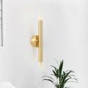 Metallic Tubular Wall Sconce Light Contemporary 2 Lights Golden Wall Mount Lamp Kit