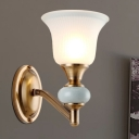 1/2-Light Bell Wall Mounted Light Vintage Style White Glass and Metallic Wall Sconce Fixture in Brass