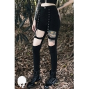 Punk Goth Street Girls' Mid Rise Hollow Out Button Embellished Ankle Length Skinny Pants in Black