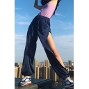 Female Athletic Style Elastic Waist Button Mesh Cuffed Long Oversize Navy Jogger Pants