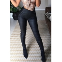 Casual Sexy Ladies' High Waist Lace Up Side Zipper Back Leather Long Skinny Pants in Black