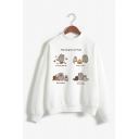 Womens Cute Fat Cat Pattern Long Sleeve Mock Neck White Pullover Sweatshirt