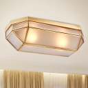 Frosted Glass Brass Ceiling Flush Rectangle 2 Heads Colonialist Flush Mount Lamp for Bedroom