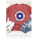 Unique Star Letter Logo Printed Long Sleeve Crew Neck Loose Pullover Sweatshirt