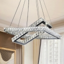 Rectangle Crystal Hanging Pendant Simple Style LED Black Ceiling Chandelier for Living Room