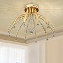 Crystal Sputnik Semi Flush Light Fixture Modern LED 12 Bulbs Gold Ceiling Lamp in White/Warm Light for Bedroom