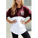 Womens Stylish PINK Letter Printed Long Sleeve Burgundy and White Casual Pullover Sweatshirt