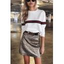 Womens Popular Color Block Stripe Printed Long Sleeve Crew Neck Loose Pullover Sweatshirt