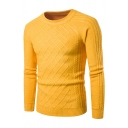 Mens Hot Popular Diamond Pattern Knit Round Neck Solid Color Slim Fit Basic Sweater