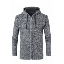 Mens Warm Long Sleeve Zip Up Plain Drawstring Hooded Thick Cardigan Knitted Coat