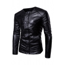 Mens Stylish Black Long Sleeve Button Front Casual Fitted PU Embossed Jacket