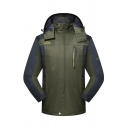 Mens Outdoor Sport Breathable Windbreaker Long Sleeve Zip Up Army Green Hooded Track Jacket
