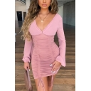 Womens Sexy Stringy Selvedge V-Neck Lantern Long Sleeve Drawstring Pleated Detail Mini Bandage Dress