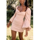 Womens Sexy Balloon Long Sleeve Surplice Neck Slim Fitted Solid Color Pink Mini Dress for Party
