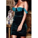 Womens Sexy Fashionable Back Split Color Block Velvet Panel Green Mini Cami Dress