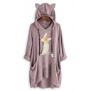 Womens Half Sleeve Fox Printed Casual Loose Longline Hoodie