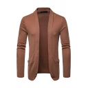Mens Casual Long Sleeve Patch Pocket Open Front Plain Short Cardigan Coat Knitwear