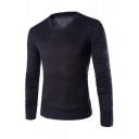 Mens Casual Plain Long Sleeve V Neck Rabbit Plush Knit Pullover Fitted Sweater