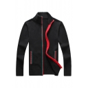 Mens Casual Contrast Trim Long Sleeve Zip Up Slim Fit Casual Knitted Jacket Black Cardigan Coat