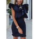 Womens Designer Plain Ruffled Cap Sleeve Rhinestone Bow Embellished Tassel Trim Mini Fitted Party Dress