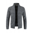 Mens Outdoor Fashion High Collar Long Sleeve Zip Placket Plain Casual Knitted Cardigan Coat