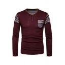 Geometric Pattern Patchwork Long Sleeve Button Down V-Neck Classic Burgundy Sweater Top for Men