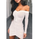 Female Sexy Fringe Embellished Off Shoulder Long Sleeve Plain Mini Fitted Mesh Dress for Party