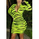 Womens Popular Zebra Printed Long Sleeve Zip Front Green Midi Bodycon Party Dress