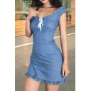 Womens Casual Stringy Selvedge Trim Off Shoulder Lace Up Solid Color Fitted Mini Day Dress