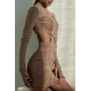 Womens Simple Mock Neck Cutout Glove Long Sleeve Single Breasted Khaki Mini Fitted Club Dress
