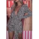 Womens Stylish Leopard Pattern Deep V-Neck Puff Long Sleeve Tied Waist Black Mini Party Dress