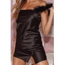 Womens Chic Soft Fur Straps Split Hem Solid Color Black Mini Party Slip Dress