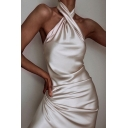 Womens Sexy Solid Champagne Cross Halter Sleeveless Open Back Evening Party Midi Dress