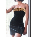 Womens Chic Leopard Panel Spaghetti Straps Black Mini Fitted Cami Dress