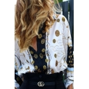 Womens Vintage Tribal Pattern Print Long Sleeve Lapel Single Breasted White Oversized Shirt