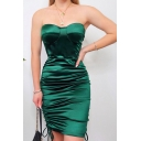 Womens Nightclub Popular Solid Color Green Drawstring Ruched Hem Midi Tube Dress for Party