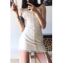 Stylish Plain Single Breasted Lace Trim Ribbon Embellished Mini Tube Dress for Party