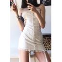 Stylish Plain Single Breasted Lace Trim Ribbon Embellished Mini Tube Dress for Party